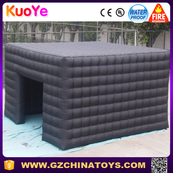2016 customized black large inflatable cube tent for sale
