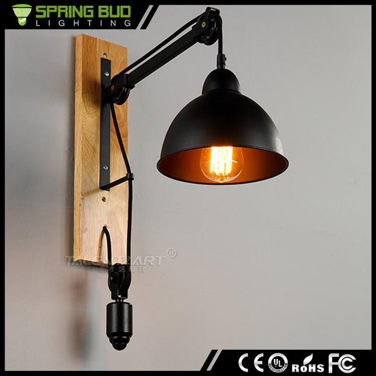 Loft style Edison wall lighting Industrial retro wall light lamp wrought black iron wooden vintage pulley wall lamp
