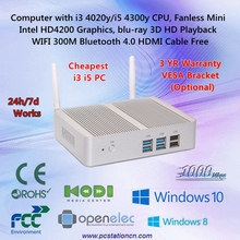 Small Desktop Computer for bedroom without fan 24h/7d work 0db noise gigabit networking intel dual core i3 4020y i5 4300y cpu ce