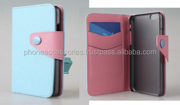leather Case with wallet and Colorful Magentic Button for iPhone 6, iPhone 5 and iPhone 4 and for Samsung S5 and Note 3