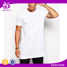 2017 Guangzhou Shandao OEM Custom Stylish Casual Plain Color O-Neck Short Sleeve White 180g 100% Cotton Extra Long T Shirt