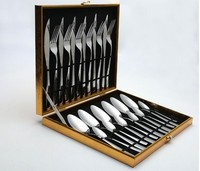 wholesale product stainless steel metal mirror polish knife spoon forks flatware chest service for 24