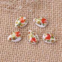Resin Japan Painting Vintage Japanese Tensha Dome Seals Cabochon Drop White Rose Flower Pattern 14mm x 10mm, 10 PCs