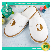 Coral Velvet Hotel Slippers / Chinese Wholesale Warm Fleece Indoor Slippers / Custom Soft and Comfortable Velour Guest Slippers