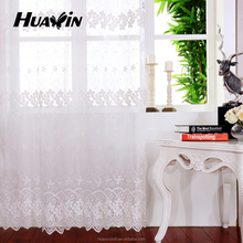 beautiful polyester plain embroidery curtain,white high quality voile plain embroidery curtain