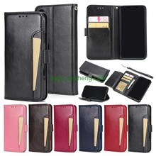 Crazy Horse lines front Card slot wallet flip pu leather case for iPhone X