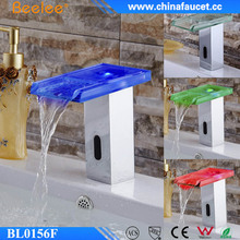 Beelee Glass Waterfall Brass LED Light Infrared Motion Basin Sensor Faucet