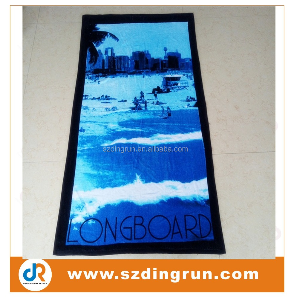 Beach towel with ocean images 100% cotton custom gradient color beach towel