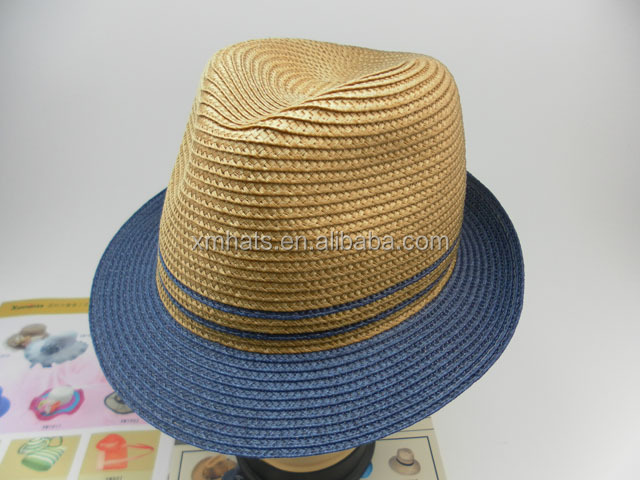 cheap PP paper straw fedora hat for all adults