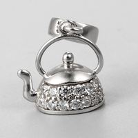 Cute sterling silver 925 teapot cz pave dangle charms beads with bail