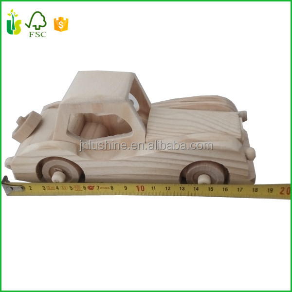 Wood Craft Handmade Toy Collectible Gift Mini Small Car