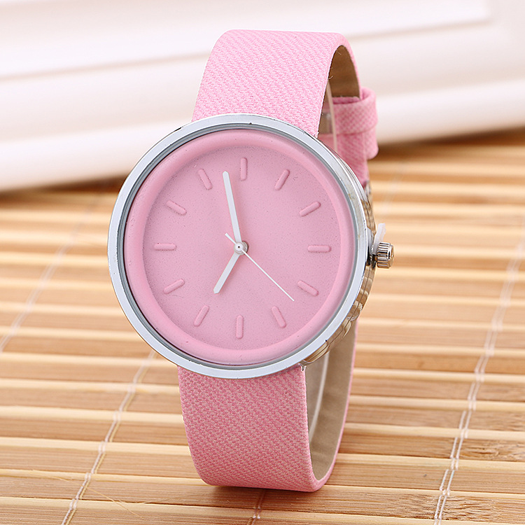 5101 New Hot Women Simple Leather Watch Big Dial Analog Jelly Color Quartz Leather Watch wrist strap watch