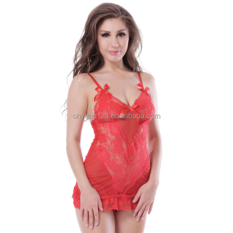 Fashionable red flower lace details hot sexy girls sheer lingerie