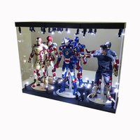 "MB-3 LED Light House Acrylic Case for three 12"" 1/6 Scale Action Figure Figurine LED Light Display Case"