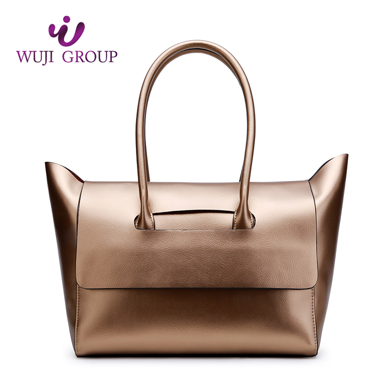 preppy style modern ladies leather <strong>shoulder</strong> tote metalltic women handbag