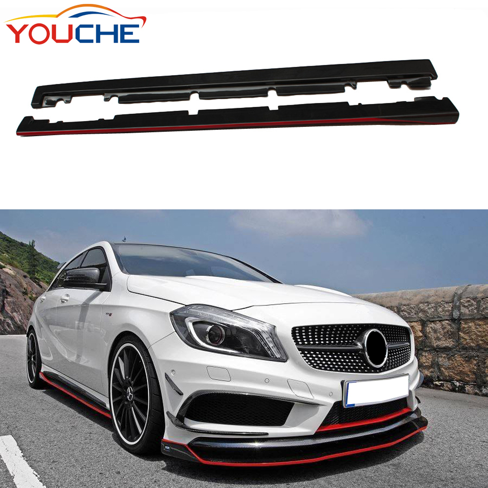 R style carbon fiber side bumper extension side skirts for Mercedes A class W176 &amp; CLA class <strong>W117</strong>