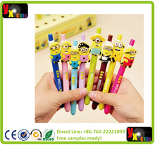 New 8 Cute Fun Despicable Me 2 Minions Figures Inks Ballpoint Kawaii Pen For Kids Children Student Stationery School Supplies