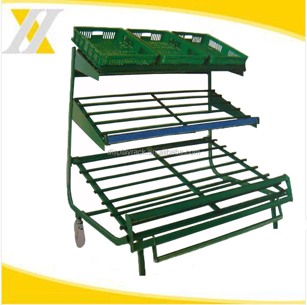 Supermarket Practical Fruit Display Rack with metal stand