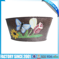 Oval Metal Flower Pot Garden