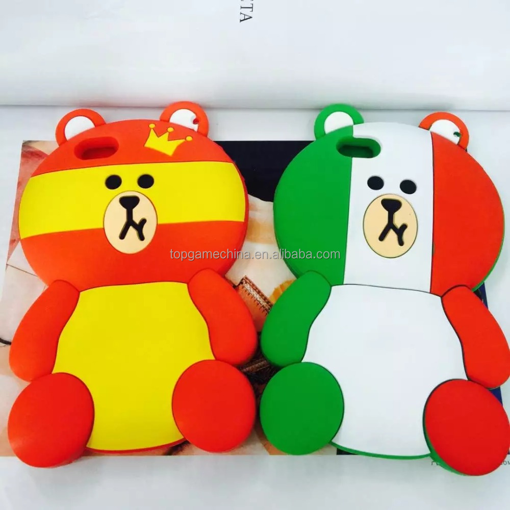 "For iPhone 6 6s plus 4.7"" 5.5"" 3D Cute Cartoon <strong>O</strong> lympic Bear Case Cover Phone Coque Capa Fundas Silicone Case"