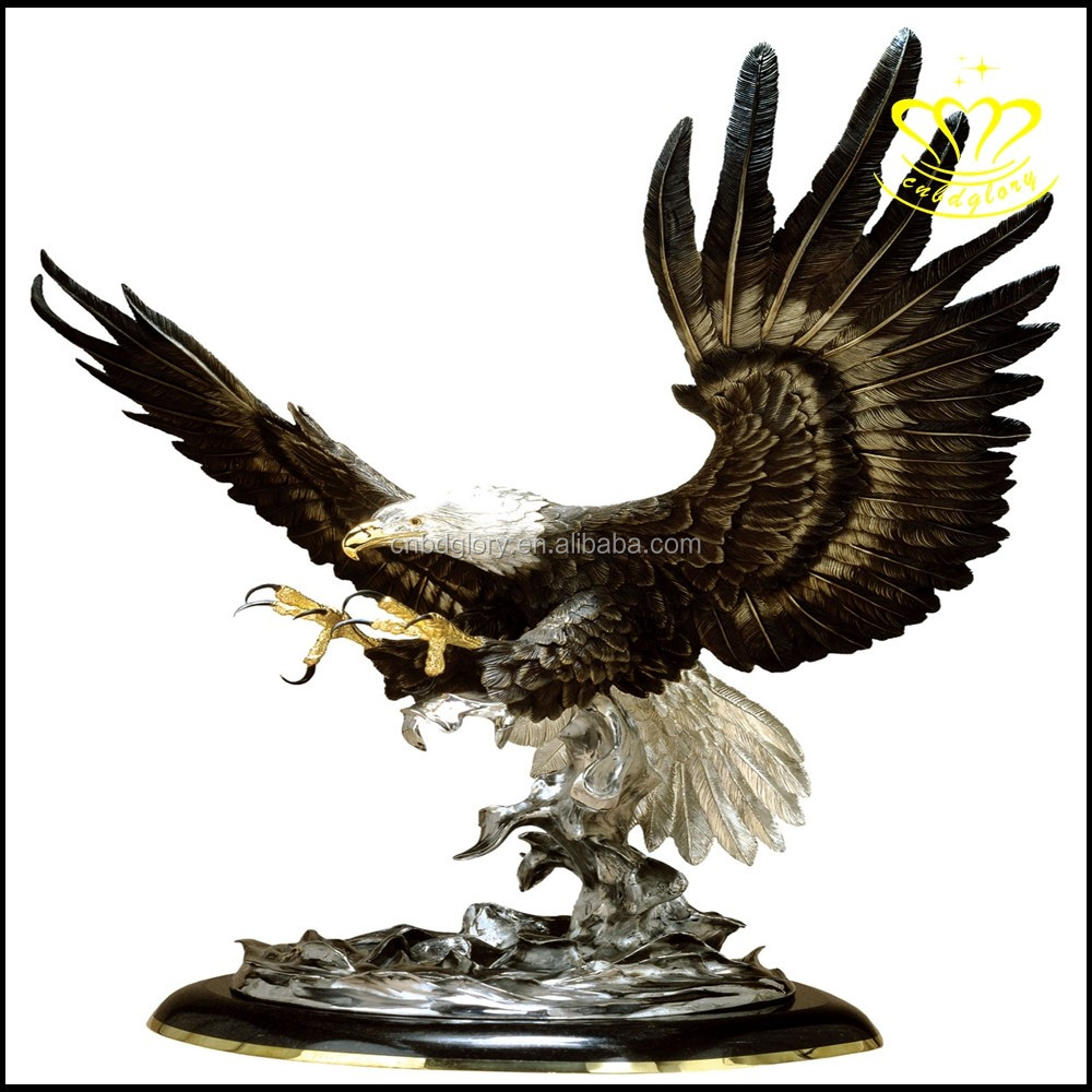 Patriotic American bronze resin Bald Eagle Statue Home Decor Sculpture