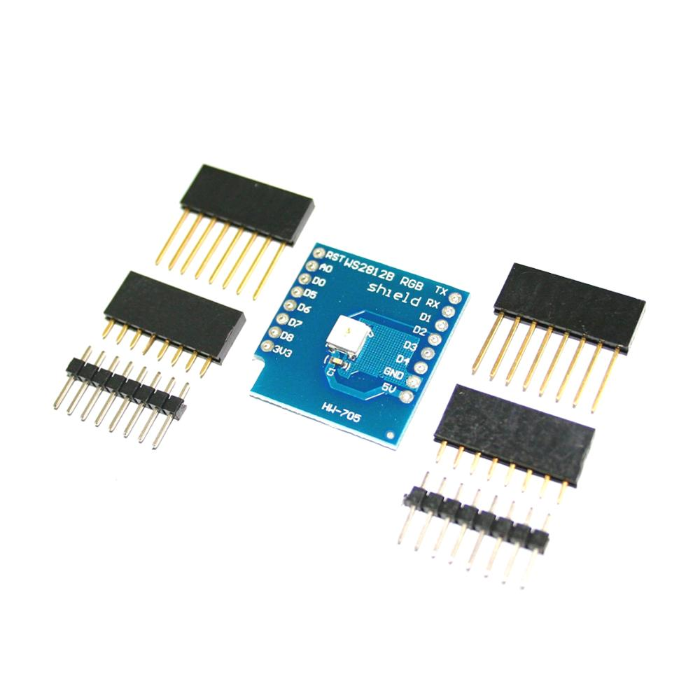 Ws2812b Rgb Shield For D1 Mini + <strong>2</strong> <strong>X</strong> Long Female Pin + <strong>2</strong> <strong>X</strong> Short Female Pin + <strong>2</strong> <strong>X</strong> Normal Pin for arduino uno r3