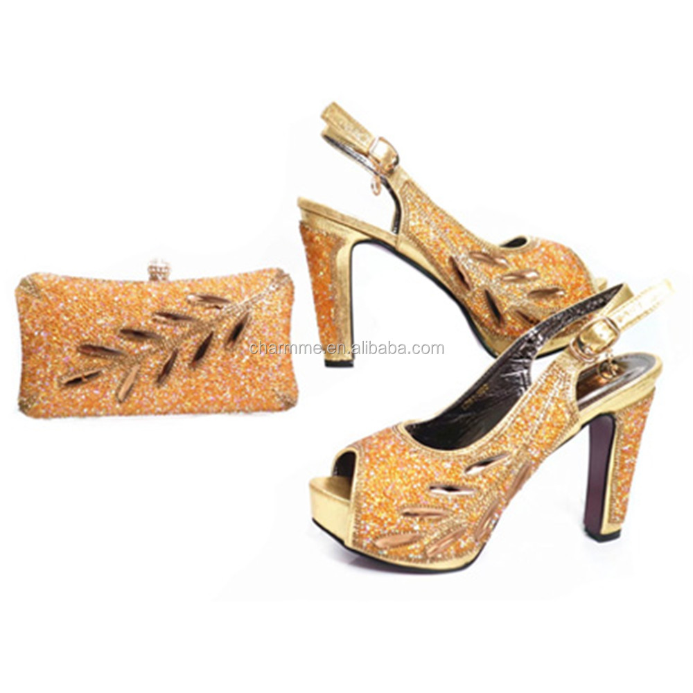 2017 shoes and bag high heel fashion design gold shoes and bag for matching lace