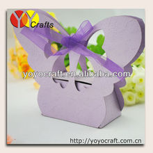 2014 Chinese creative folding free ribbon wedding paper crafts laser cut purple wedding favor box for cake