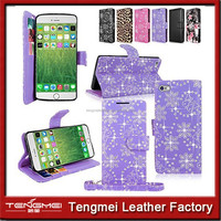 Card Holder Slot&Money Pocket Case Cover For Iphone 6,For Iphone 6 Bling Bling Case With Wrist Strap