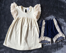 Special Design Girls Summer Outfits Fashion Lace Ruffle Short Clothing Wholesale
