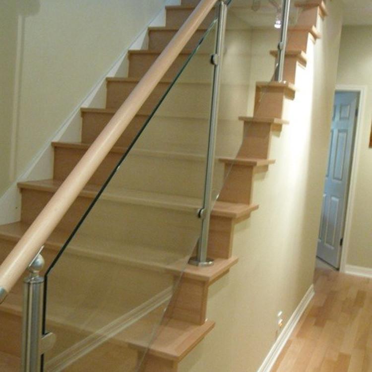 Moderne ontwerp model reling verwijderbare clear gehard glas trap rvs leuning balustrades en - Railing trap ontwerp ...