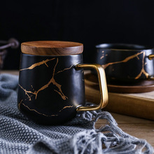 Black White Marble Matte Ceramic Coffee Mug With Gold Handle And Bamboo Lid And Bamboo <strong>Plate</strong>