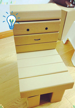 Painting Cardboard furniture indoor corrugated paper desk chair for kids children