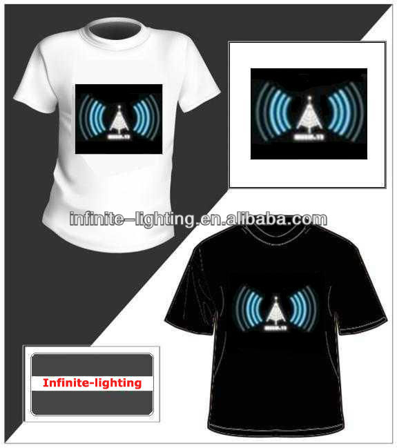el glowing t-shirt with good quality/EL Flashing T-Shirt/LED Glow Tee Shirt