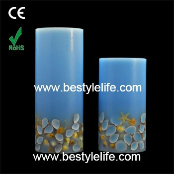 Hot selling embedded seashell remote control smart living flameless led candles