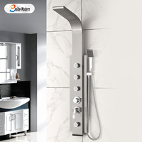 Bath Italian Thermostatic Shower Mixer Wall Panels Stainless Steel Massage Shower Panel 4 Way Italian Style Body Jets