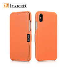 ICARER Waterproof Real Leather Flip Case for iPhone 8