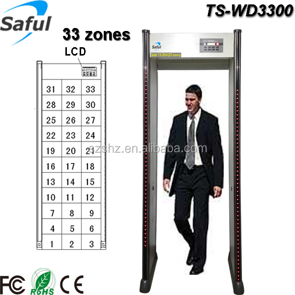 Best-selling security devices TS-WD3300 long range 33 zones walk through metal detector door