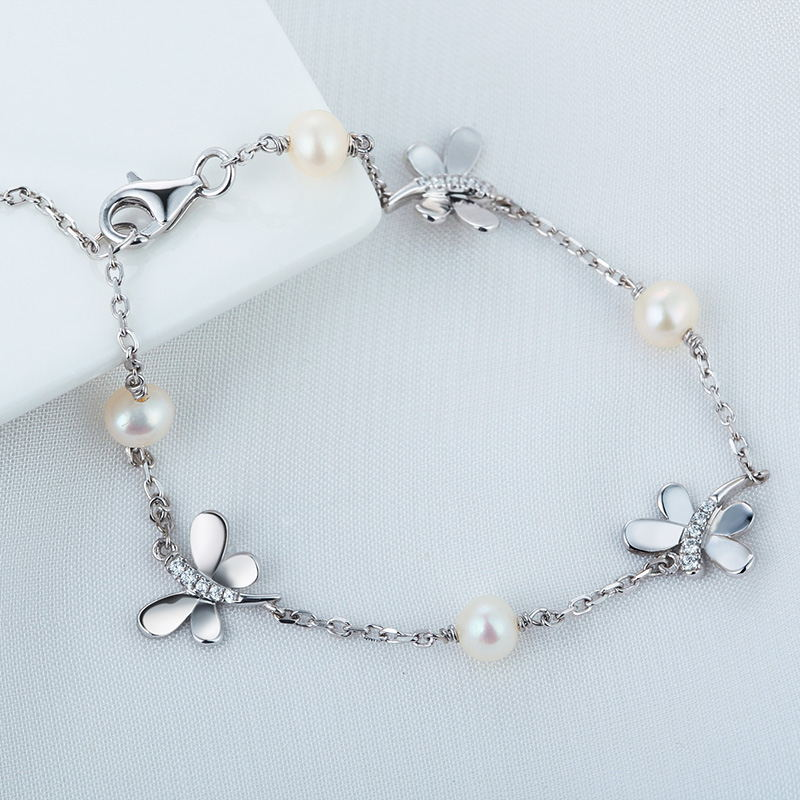 Factory direct sale freshwater natural pearl 925 Silver jewelry butterfly theme bracelet