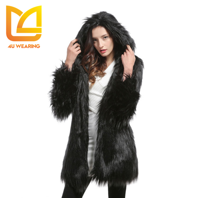 2017 Wholesale fashion hood fake racoon fur parka mink coat