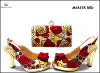 MS4378 RED Latest design paypal accept italian matching shoes and bags ladies shoes and matching bags for party