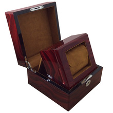 Glossy stand up wooden jewelry box with key lock for watch display