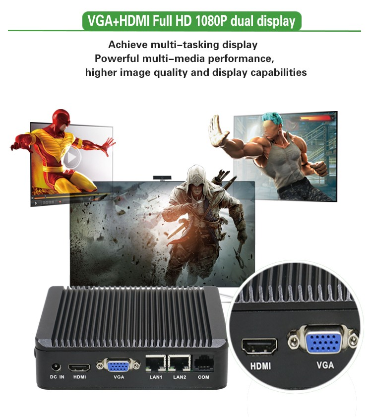 Intel baytrail J1900 CPU quad core dual lan 4* USB 1* COM 1HDMI 1* VGA desktop fanless mini pc industrial computer