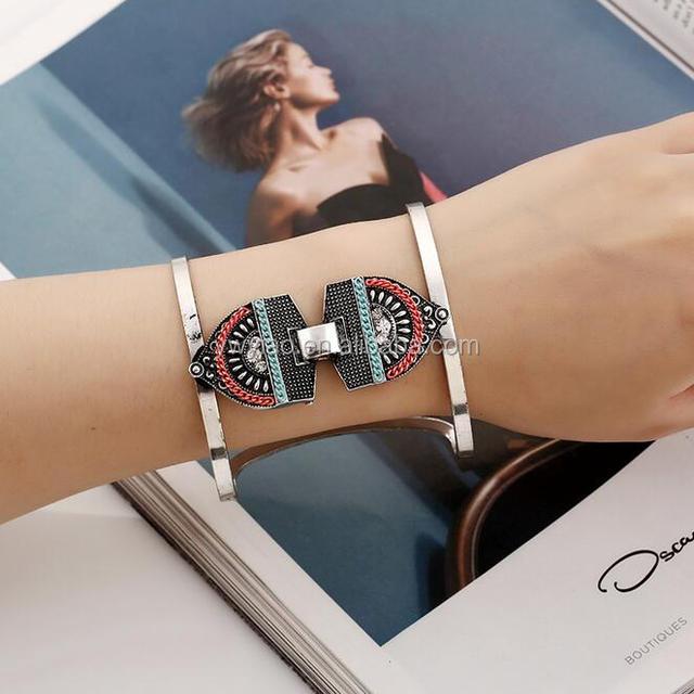 Crystal Jewelry Chain Bracelet Lady Bangle Slive Antique