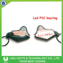 customized logo and shape led keychain pvc material
