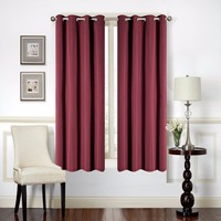 IN STOCK 1pc Solid Burgundy Thermal Insulated Blackout Window Curtain Fabric