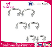 Horseshoe Lip Nipple Eyebrow Ring Nose Ear Cartilage Helix Piercing Hoop Rings 3mm Cubic Zirconia Inlaid