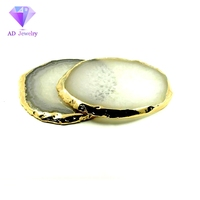 Plated Gold Rim Natural Color Agate