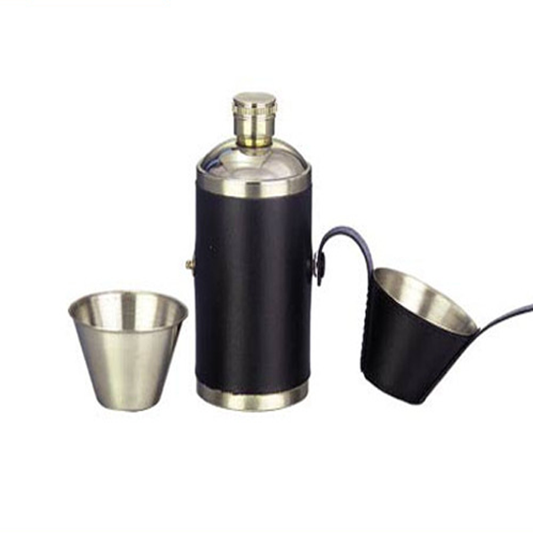8 OZ Hunter Flask in Black or Brown Leather with 2 Shot Cups
