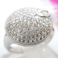 (R15027-1) factory handmade 925 sterling silver pave ring
